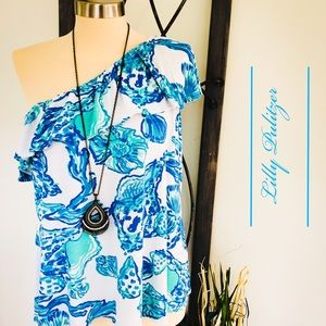 Lilly Pulitzer off shoulder seashell print top